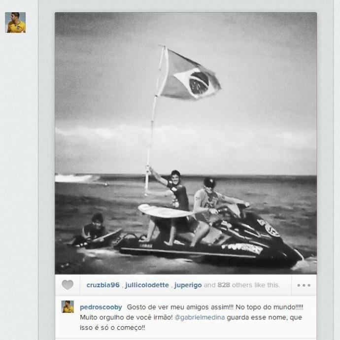 pedro scooby parabeniza gabriel medina campeão wct fiji (Foto: Reprodução/Instagram)