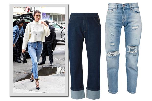 Bella Hadid e jeans, See by Chloé, R$ 820; Levi's, R$ 2.510 (Foto: AKM-GSI e Farfetch/Divulgação)