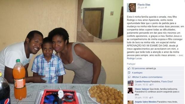 Publicação feita por Flávio Dias da Silva em rede social, comemorando a aprovação na OAB (Foto: Facebook/Reprodução)