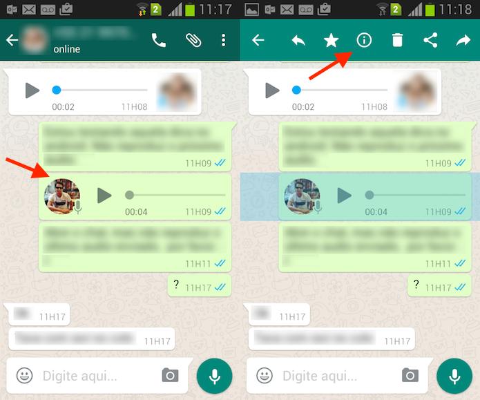 Caminho para acessar as informações de uma mensagem no WhatsApp para Android (Foto: Reprodução/Marvin Costa)