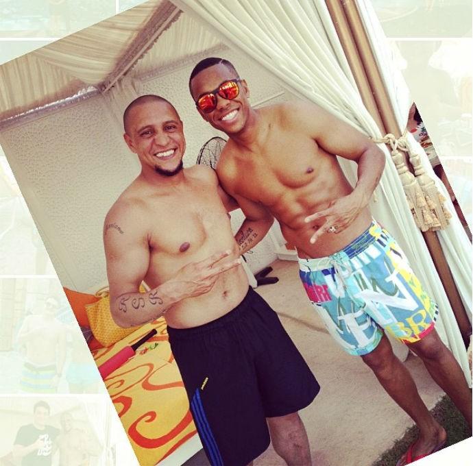 Robinho e Roberto Carlos se encontram em Dubai (Foto: Reprodução/Instagram)