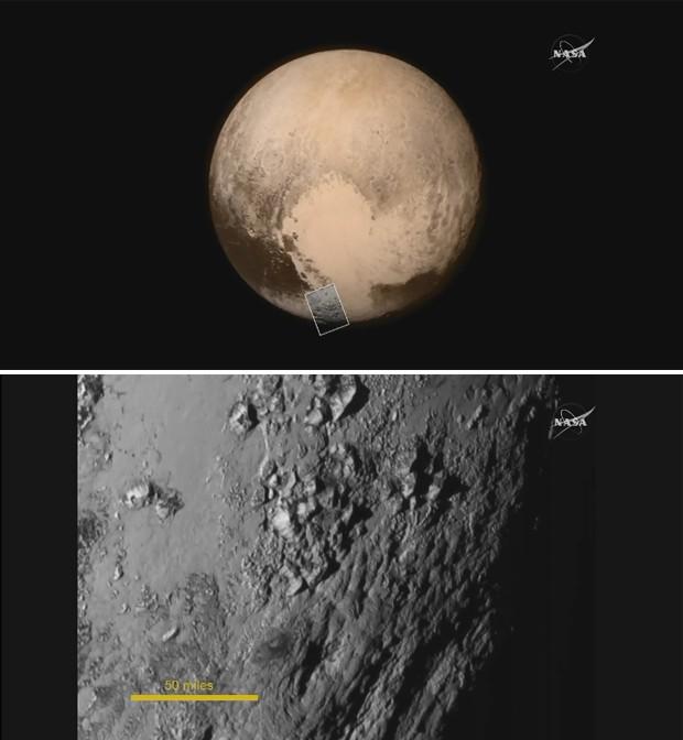 Imagem de cima mostra Plutão, em imagem feita pela sonda New Horizons esta semana; imagem de baixo mostra detalhes na superfície do planeta anão feitos durante passagem da New Horizons (Foto: Nasa TV/Divulgação)