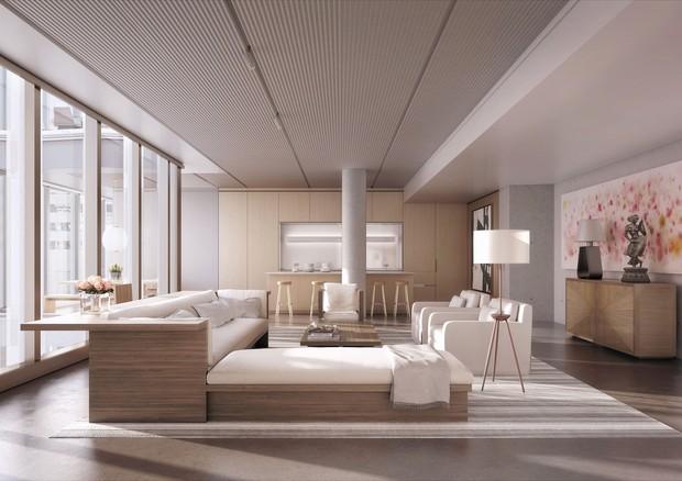 Sala de estar de um dos luxuosos apartamentos (Foto: Reprodução)