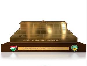 Troféu do Campeonato Potiguar homenageia Estádio Juvenal Lamartine (Foto: Divulgação)