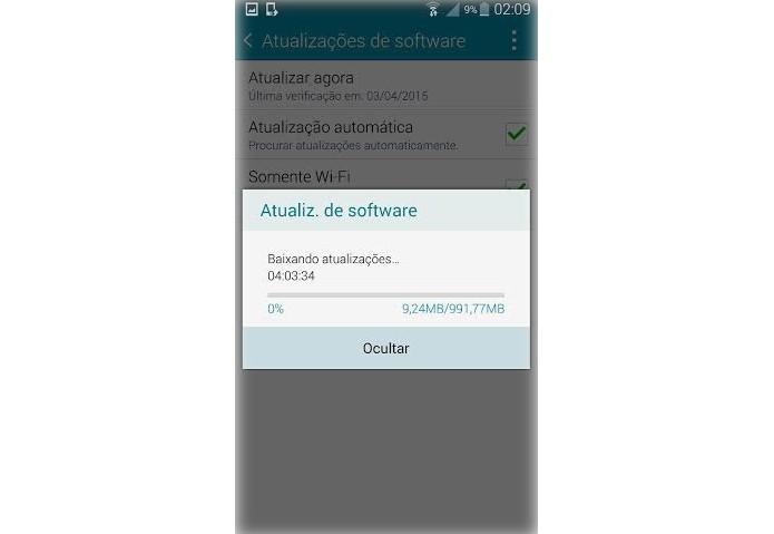 """Basta clicar em """"instalar"""" para baixar o Lollipop no Note 4 (Foto: Reprodução/Lucas Mendes)"""
