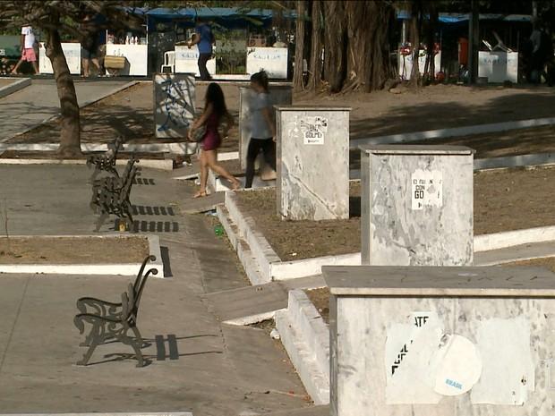 Bustos são de artistas, escritores e demais personalidades maranhenses foram retirados da Pantheon (Foto: Reprodução/TV Mirante)