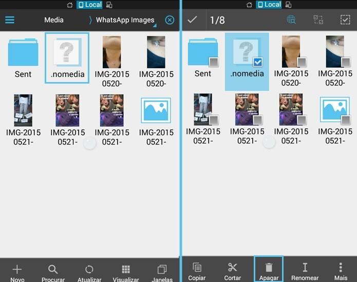 """Para ter a pasta de imagens do WhatsApp de volta, exclua o arquivo """".nomedia""""  (Foto: Reprodução/Carol Danelli)"""