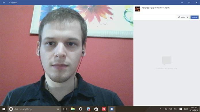 Facebook Live pode ter mensagem adicionada à transmissão no Windows 10 (Foto: Reprodução/Elson de Souza)