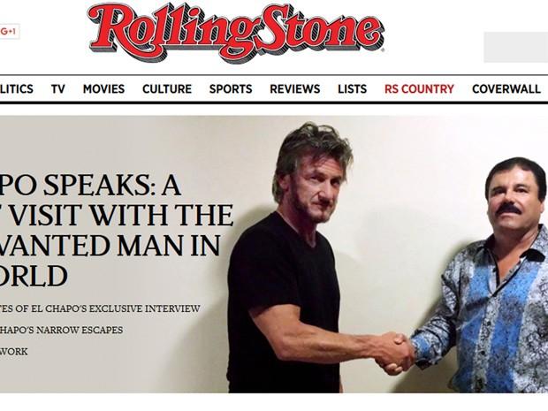 Revista Rolling Stone publicou foto de Sean Penn e El Chapo (Foto: Reprodução/Revista Rolling Stone)