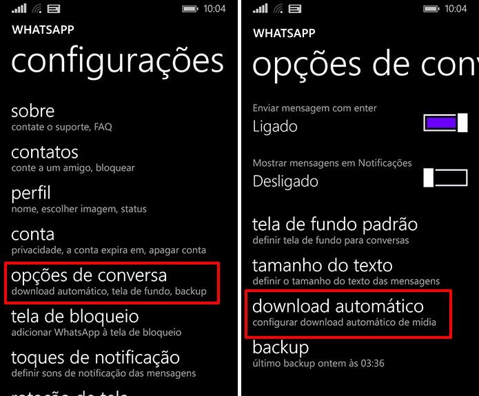 Configurações de download automático do WhatsApp pode ajudar a economizar dados (Foto: Reprodução/Elson de Souza)