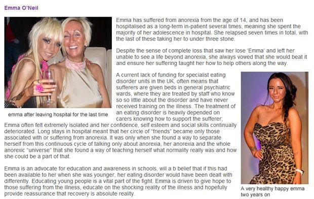 No site da fundação criada por Emma, a foto de como ela estava logo após sair de uma das internações hospitalares (esquerda) e como ela esstá após dois anos de recuperação. (Foto: Reprodução/The Only Way is Up Foundation)