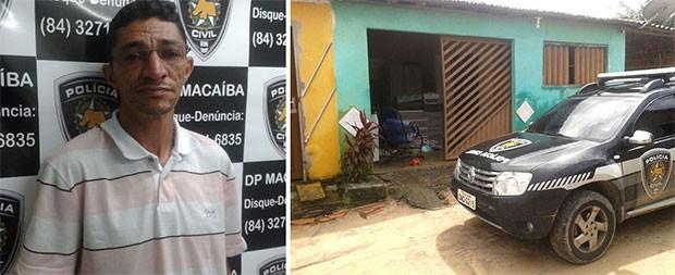 Após a prisão de Francisco de Assis Júnior, policiais fizeram buscas na casa do suspeito, em Macaíba (Foto: Divulgação/Polícia Civil e Felipe Gibson/G1)