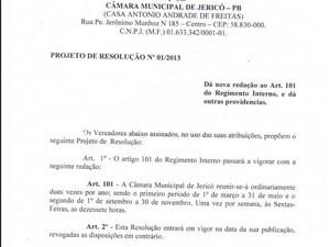 Cópia da resolução de Câmara Municipal de Jericó (Foto: Reprodução)
