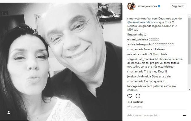 Simony lamenta morte de Marcelo Rezende (Foto: Reprodução/Instagram)