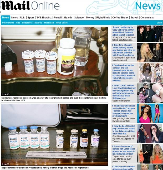 Fotos divulgadas pela polícia de Los Angeles de frascos de comprimidos encontrados no quarto de Michael Jackson após sua morte (Foto: Reprodução/Daily Mail)