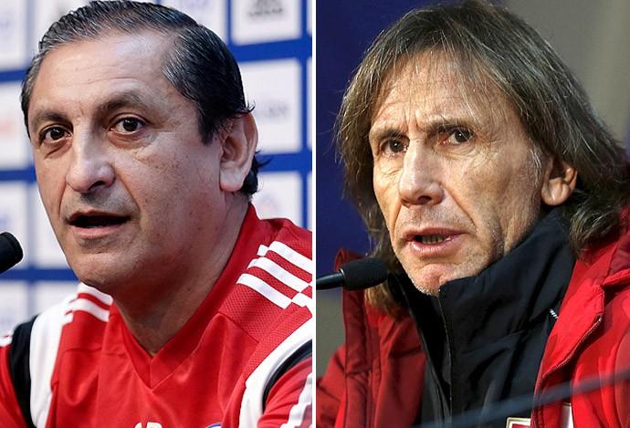 Ramón Díaz, técnico do Paraguai x Ricardo Gareca, técnico do Peru (Foto: Globoesporte.com)