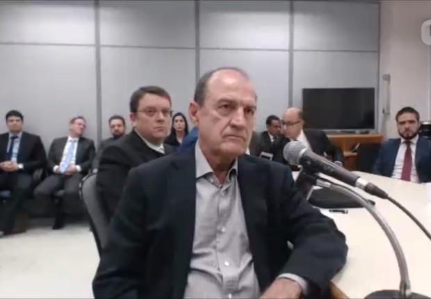O ex-presidente da OAS, Agenor Medeiros , presta depoimento ao juiz Sérgio Moro (Foto: Reprodução/YouTube)