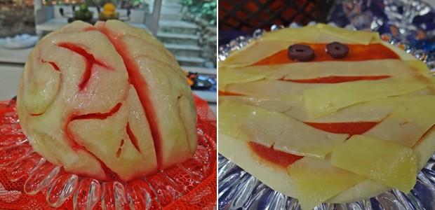 Use melancia para fazer o cérebro e pizza pequena para a cara da múmia (Foto: Mais Você / TV Globo)