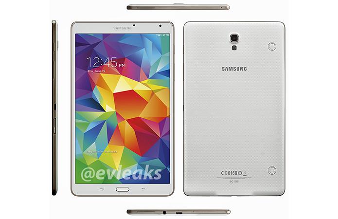 Galaxy Tab S 8.4 tem design parecido com Galaxy S5. Modelo será anunciado somente dia 12 (Foto: Reprodução/Evleaks)