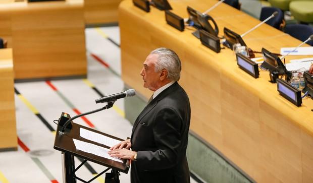 Presidente Michel Temer fez discurso em reunião da ONU sobre refugiados e migração (Foto: Beto Barata/PR)