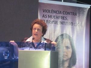 A ministra da Secretaria de Políticas para as Mulheres, Eleonora Menicucci, no lançamento da campanha Violência Contra as Mulheres (Foto: Weldson Medeiros/G1)
