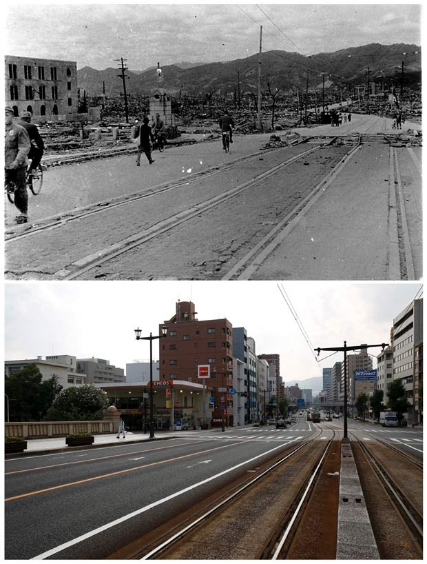 Acima, foto histórica mostra pessoas caminhando perto da ponte Aioi, em Hiroshima, em 1945; abaixo, o mesmo lugar aparece em foto de julho de 2015 (Foto: REUTERS/Shigeo Hayashi/Hiroshima Peace Memorial Museum/Handout via Reuters/Issei Kato)