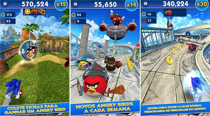 Sonic Dash é um runner do Sonic para Windows Phone com a participação de Angry Birds (Foto: Divulgação/WIndows Phone Store)