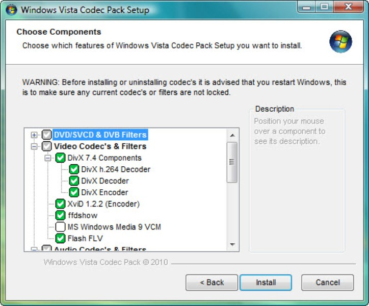 Advanced vista codec package download free