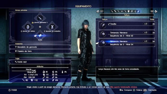 Final Fantasy XV: coloque a magia no espaço de arma primária para equipá-la em combate (Foto: Reprodução/Victor Teixeira)
