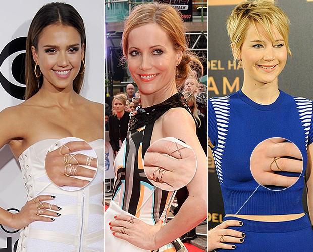 [MODA Anel X] Jessica Alba, Leslie Mann e Jennifer Lawrence (Foto: Getty Images/Agência)
