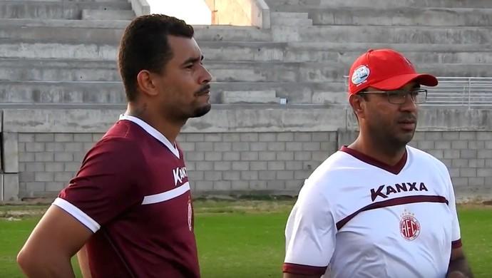 América-RN - Daniel, zagueiro - Felipe Surian, técnico (Foto: Reprodução/TV Mecão)