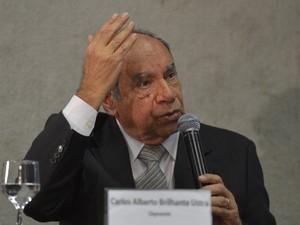 O coronel reformado Carlos Alberto Brilhante Ustra durante depoimento à Comissão da Verdade (Foto: Wilson Dias / Agência Brasil)