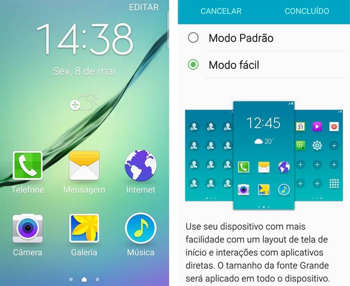 Ative o Modo Fácil para ter uma configuração simplificada no Galaxy S6 (Foto: Reprodução/Carol Danelli)