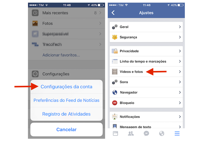 Acessando as opções para vídeos e fotos do Facebook para iPhone (Foto: Marvin Costa/TechTudo)
