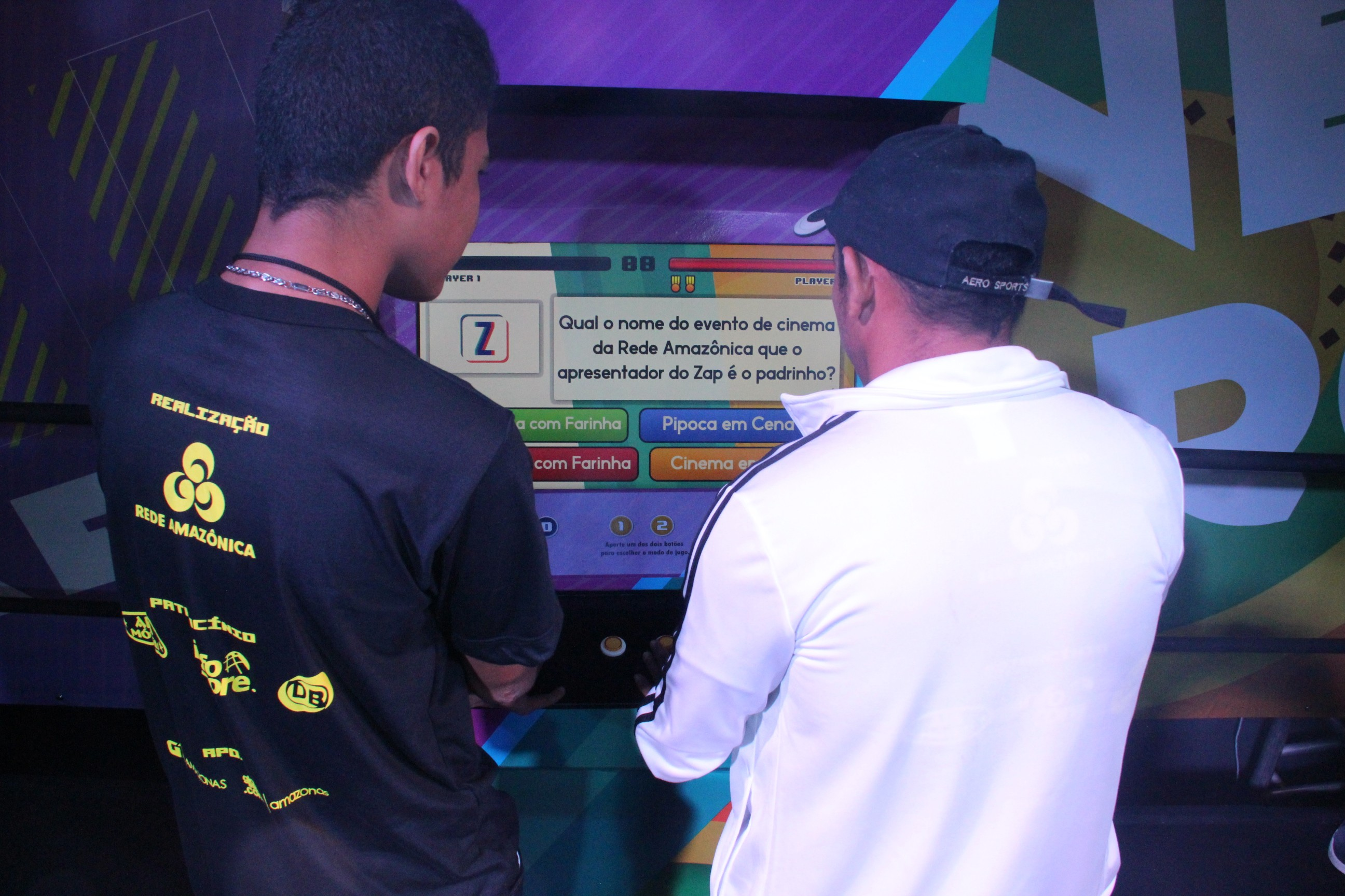 Um fliperama com perguntas sobre os programas foi disponibilizado para o público presente (Foto: Katiúscia Monteiro/ Rede Amazônica)