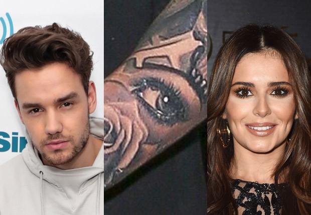 Liam Payne tatuou desenho do olho de Cheryl Cole (Foto: AKM-GSI, Getty Images e Reprodução)
