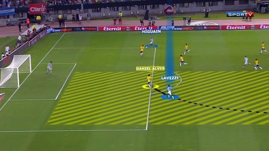 No detalhe: Lavezzi surpreende David Luiz e Daniel Alves em gol no Brasil