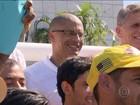 Protesto pede renúncia do presidente licenciado da CBF, Marco Polo, no Rio
