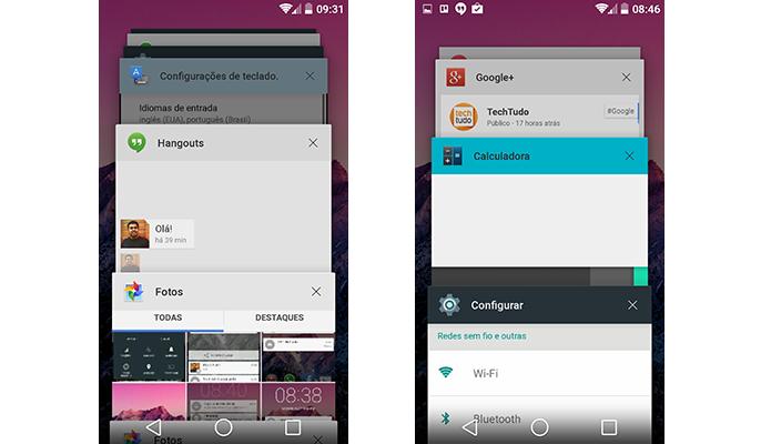 Multitarefas mostra cards dos apps abertos no centro da tela (Foto: Reprodução/Paulo Alves)