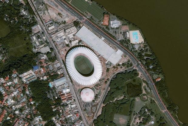 Foto de satélite do Beira-Rio, em 28 de maio de 2014 (Foto: CNES 2014 Distribution Astrium Services/Spot Image S.A/AFP)