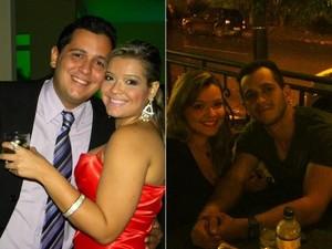 Bruno, ao lado da mulher, antes e depois de perder os 35 kg (Foto: Arquivo pessoal)