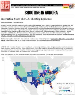 Mapa gerado pelo 'Daily Beast' mostra onde ocorreram tiroteios desde 2005 (Foto: Reprodução)