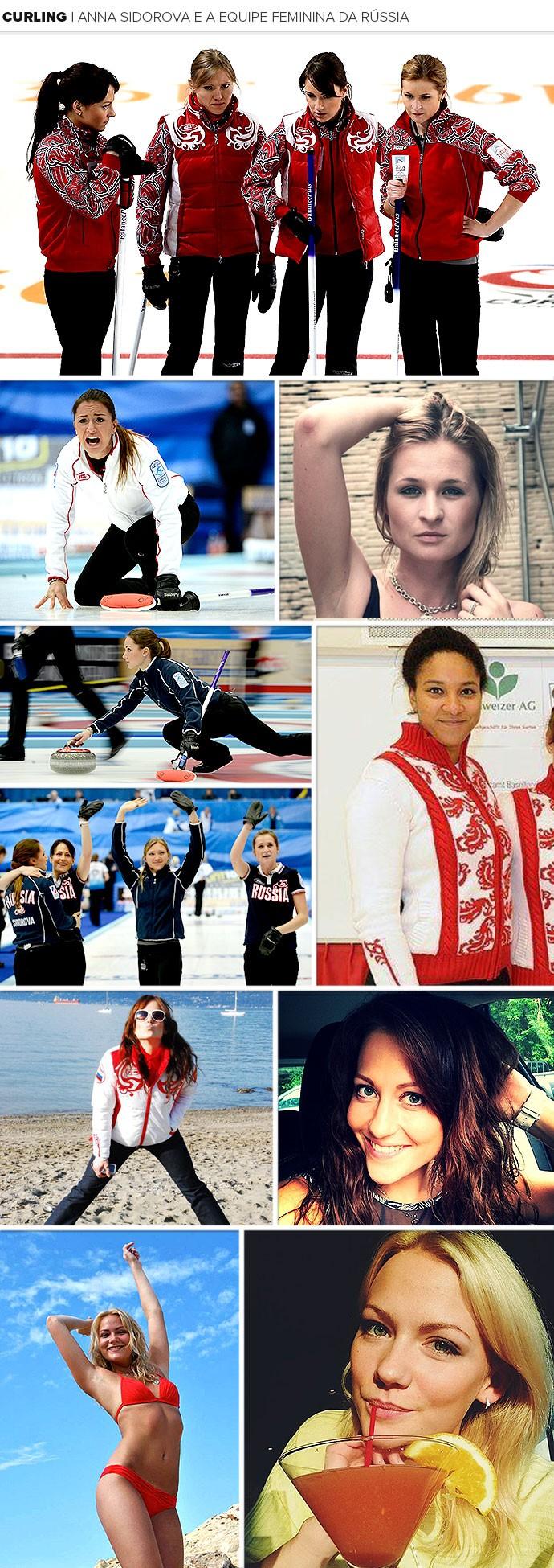 Mosaico Anna Sidorova curling Rússia (Foto: Editoria de Arte)