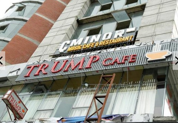 Vista da fachada do Trump Cafe em Daca, capital do Bangladesh (Foto: Abir Abdullah/EFE)