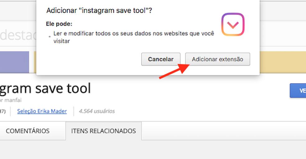 Opção para baixar e instalar a extensão Instagram Save Tool para Google Chrome (Foto: Reprodução: Marvin Costa)