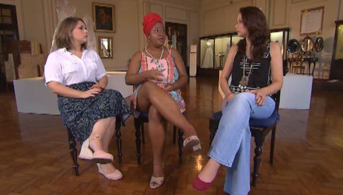 Elisa Gallo, Luana Soares e Briza Menezes: mulheres na militância (Foto: TV Bahia)