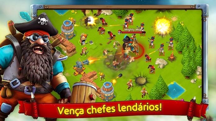 Lembra Clash of Clans, mas é possível defender sua aldeia com ajuda de artilharia pesada (Foto: Divulgação)
