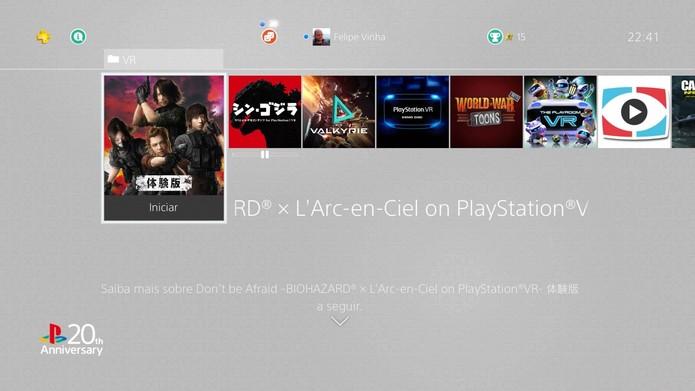 Alguns dos games de PS VR instalados (Foto: Reprodução/Felipe Vinha)