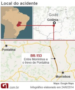 Acidente de carro que levou Crisitano Araújo e a namorada a óbito aconteceu na BR0153 Goiás (Foto: Arte/G1)