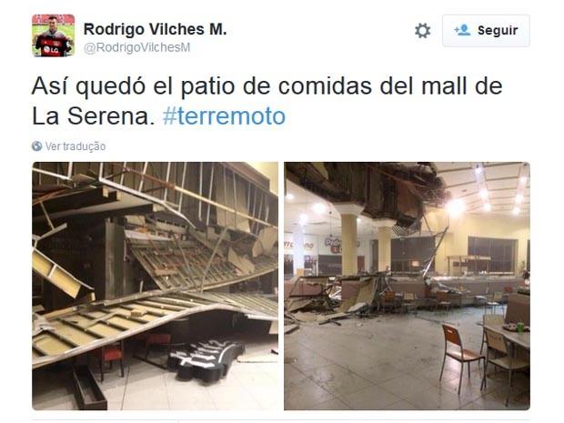 Imagem mostra praça de alimentação destruída após passagem de terremoto (Foto: Reprodução/Twitter)